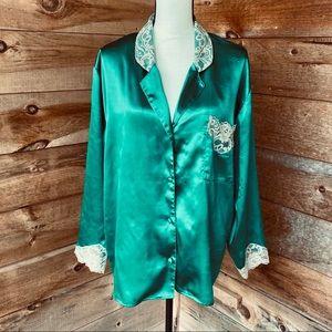 Vintage Victoria's Secret Green Satin Pajama Top